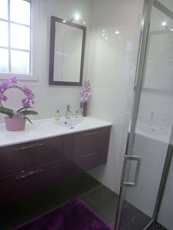 vasque au sol salle de bain Rénovation complète de Salle de Bain avec meuble vasque double sur mesure,  douche à l